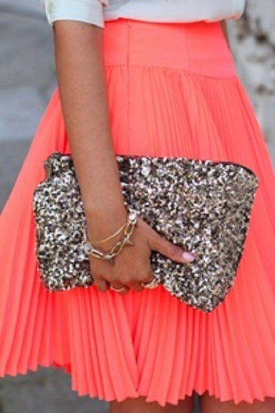 salmon skirt - silver bag - white top - silver bracelet