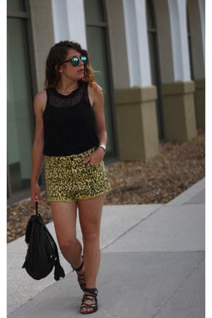 black Fashion Star shirt - yellow Urban Outfitters shorts - blue Aldo sunglasses