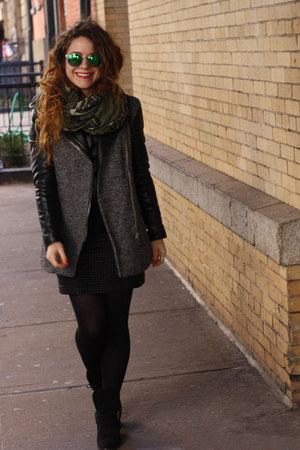 black suede Nasty Gal boots - black tweed-leather H&M coat