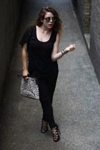 black Converse pants - blue Aldo sunglasses - black Schutz heels