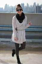 black Old Navy boots - beige sweater dress H&M sweater