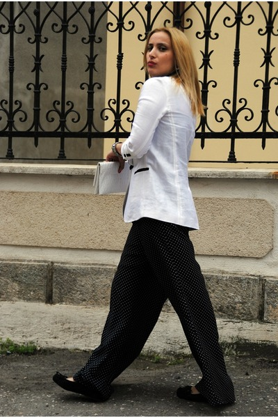 white ipekyol blazer - white nissa bag - black Zara pants - black H&M flats - bl