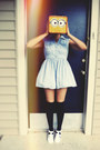 yellow Minion Lunch box accessories - light blue dress - navy socks