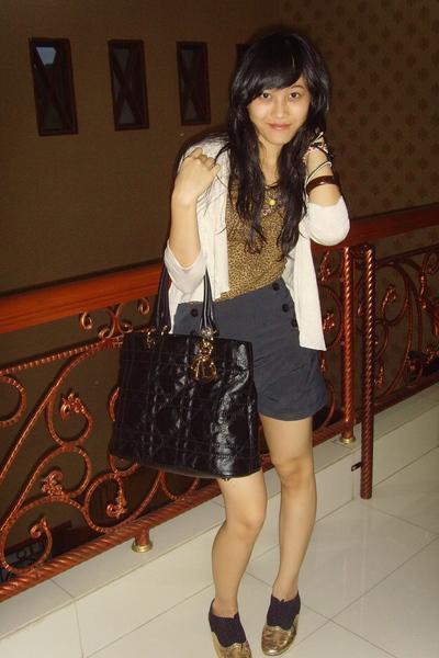Zara Leopard t shirt - Zara cardigan - Dior Coated Canvas tote bag - black and g