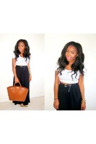black maxi skirt new look skirt - tawny Zara bag - black Primark belt