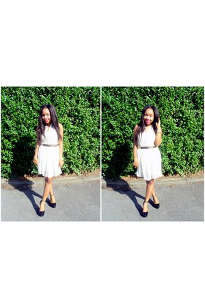 black Zara shoes - cream Primark dress - gold Ebay belt