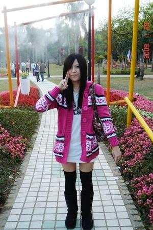 pink coat - white dress - black stockings - black boots