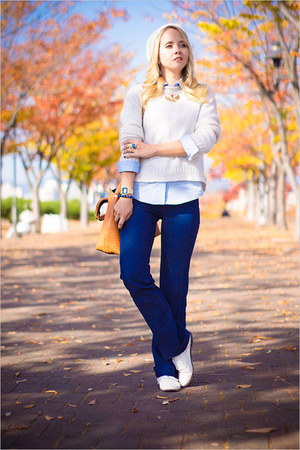 ivory Topshop sweater - blue Forever 21 jeans - gold Miss Nabi bag