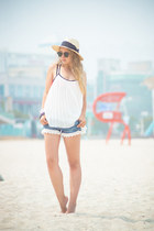 ivory H&M hat - black ray-ban sunglasses - bubble gum Triangl swimwear