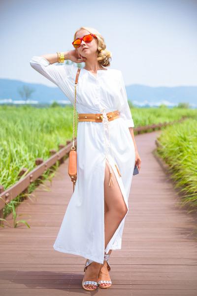 white sammydress dress - tawny Rebecca Minkoff bag - red zeroUV sunglasses