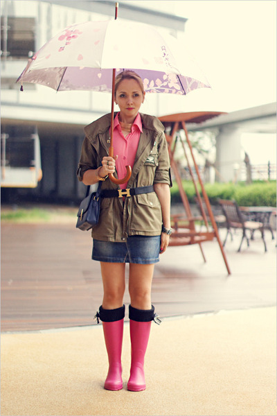 hot pink Miss Nabi boots - olive green Topshop jacket - navy Miss Nabi bag