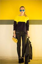 yellow Sheinside sweater - black Armani Exchange jacket - yellow Miss Nabi bag