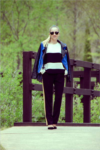 black ray-ban sunglasses - navy Sheinside jacket - black OASAP heels