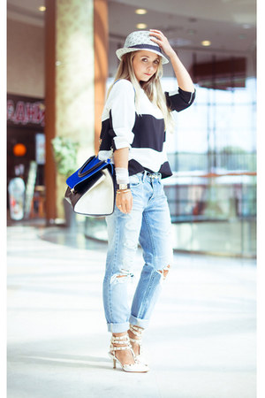 white Udobuy heels - blue WOAKAO bag - white Sheinside top