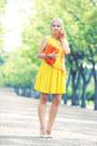 Light-yellow-asos-dress-orange-miss-nabi-bag-neutral-oasap-heels