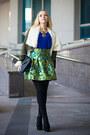 Dark-gray-romwe-coat-black-oasap-bag-turquoise-blue-oasap-skirt