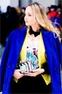 White-zara-bag-blue-sheinside-coat-yellow-vivilli-blazer