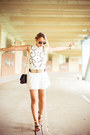 White-joa-dress-black-choies-bag-mustard-oasap-belt