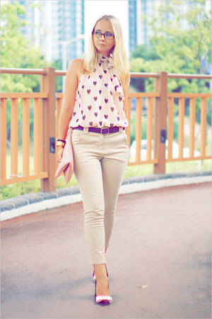 H&amp;M blouse - Miss Nabi bag - Miss Nabi pants - firmoo glasses - casio watch