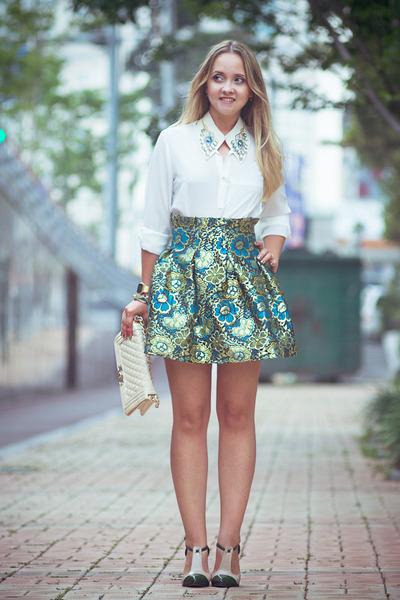 turquoise blue OASAP skirt - white GoodNight Macaroon blouse