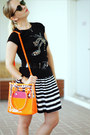 Black-ray-ban-sunglasses-orange-miss-nabi-bag-white-forever-21-skirt