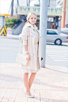 off white Miss Nabi coat - off white Zamrie dress - eggshell romwe bag