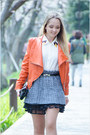 White-ecugo-blouse-light-orange-sheinside-jacket
