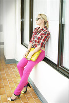 bubble gum asos jeans - ruby red Gap shirt - yellow asos bag - black Ray Ban sun