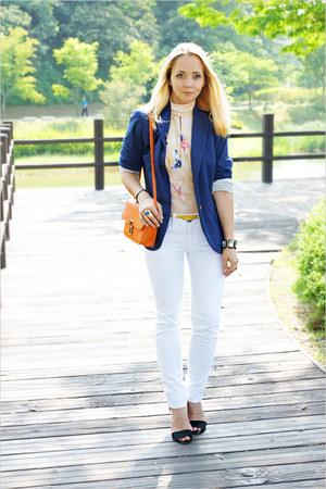 blue H&M blazer - white Maro Catte jeans - carrot orange Miss Nabi bag