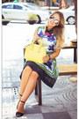Navy-sheinside-dress-yellow-woakao-bag-silver-zerouv-sunglasses