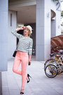 salmon kpopsicle jeans - white Old Navy sweater - black Rebecca Minkoff bag