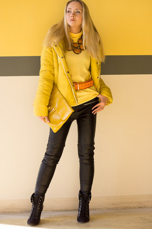 black asos boots - yellow OASAP jacket - yellow asos bag
