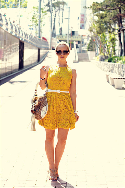 yellow asos dress - beige Gucci bag - dark brown Celine sunglasses