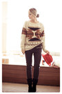 Red-h-m-hat-eggshell-sheinside-sweater-black-romwe-pants