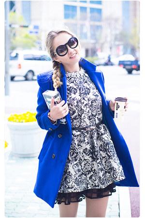 blue Sheinside coat - white tideshe dress - white Zara bag