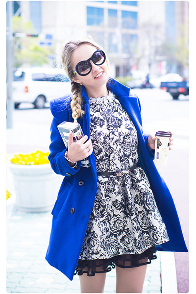 blue Sheinside coat - white tideshe dress - white Zara bag