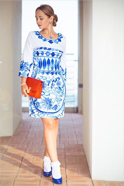 white GoodNight Macaroon dress - white sammydress watch - blue Forever21 heels