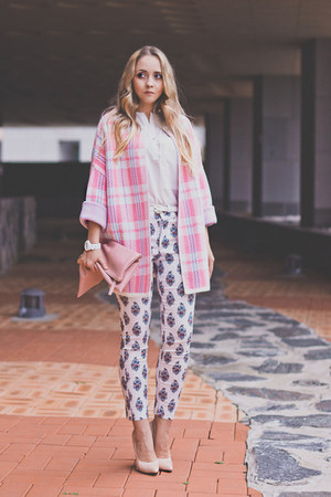 white Sheinside pants - bubble gum 8 seconds cardigan - peach PERSUNMALL pumps