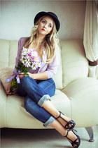 periwinkle Stylish Plus blouse - navy Levis jeans - black River Island hat