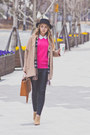 Camel-choies-coat-hot-pink-wool-overs-sweater-brown-daniel-wellington-watch