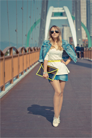 yellow romwe bag - sky blue Forever 21 jacket - white nowIStyle top