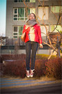 Brown-miss-nabi-bag-hot-pink-lecaf-jacket-heather-gray-knit-and-cute-scarf