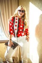 black Rebecca Minkoff bag - black zeroUV sunglasses - white Choies pants