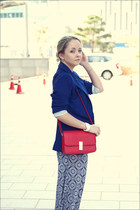 red Miss Nabi bag - blue H&M blazer - black ray-ban sunglasses