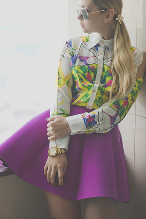 purple Choies skirt - black PERSUNMALL boots - light yellow WOAKAO shirt