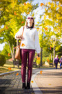 White-oasap-sweater-burnt-orange-miss-nabi-bag-purple-forever-21-sunglasses