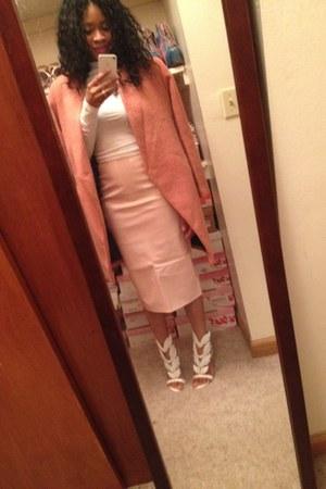 OASAP shoes - Sheinside coat - pink pvc skirt Missguided skirt