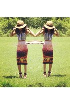 African Safari Tube skirt skirt - Geo print Crop Top top