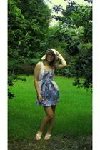 purple Urban Outfitters dress - pink Heritage vest - white Gap Outlet shoes