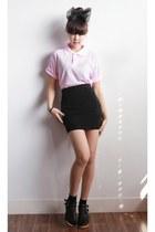 lace socks yubsshop socks - light pink yubsshop top - black yubsshop skirt
